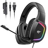 havit Headset für PS4, RGB Gaming Headset für PC, PS5, Xbox One, Laptop, Kabelgebundenes Kopfhörer mit Stero Sound 50MM Treiber und Mikrofon Mute, H2025d