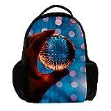 Yuzheng Lensball Rucksack für Damen, Herren, Studenten, Outdoor, Blau und Orange