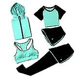 JLTPH Damen Trainingsanzug-Sets Yoga Kleidung Anzug 5er-Set Trainingsanzug Laufbekleidung Gym Fitness Kleidung