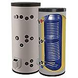 kombinierter Warmwasserspeicher mit 2 Wärmetauschern und 3 9 12 kW Elektroheizstab - Standspeicher Boiler Kombispeicher Elektrospeicher - 150 200 300 500 750 1000 L Liter