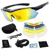 Polarisierte Sportbrille, Fahrradbrille, Sportliche Sonnenbrille UV400 Schutz für Herren & Damen mit 5 Wechselgläser,für Outdooraktivitäten wie Radfahren Laufen Klettern Autofahren Angeln Golf