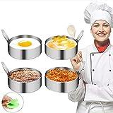 INSANYJ Spiegeleiform Antihaft Pancake Form, Egg Ring Edelstahl für Pochierte Eier, Egg Rings mit hitzebeständigem Fingerstall (4 Packungen)