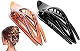 RC ROCHE 2 Stück Haarspange Haarklammer Französisch Geschwungen für Damen Mädchen Fester Halt Ohne Rutschen Hochwertig Haare Hochstecken, Medium Schwarz und Braun