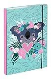 Baagl Heftbox für Schulranzen A4 - Sammelmappe für Kinder mit Gummiband und Innenklappen - Heftmappe, Sammelbox mit Gummizug für Mädchen (Koala)