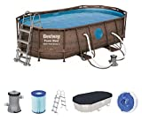 Bestway Power Steel Swim Vista 424x250x100 cm, Frame Pool oval Komplett-Set mit stabilem Stahlrahmen, rattan