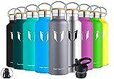 Super Sparrow Trinkflasche Edelstahl Wasserflasche - 750ml - Isolier Flasche mit Perfekte Thermosflasche für Das Laufen, Fitness, Yoga, Im Freien und Camping | Frei von BPA (Grau)