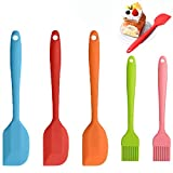 WELLXUNK® Küchenbackwerkzeuge, 3 Stück Silikon Spatel + 2 Stück Backpinsel, Silikon Küchenhelfer Hitzebeständig bis 400℃, Hochwertige Antihaft-Küchenhelfer Set, Ideal für Kochen und Backen