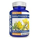 Nachtkerzenöl 1000 mg, 120 Kapseln, für die Wechseljahre - Kaltgepresstes Evening Primrose Oil mit 90 mg Omega-6 GLA. Hergestellt in Großbritannien