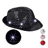 Relaxdays 10023897_46 Pailletten Hut, 6 blinkende LED, mit Glitzer, Männer & Frauen, JGA, Fasching, Partyhut, Einheitsgröße, schwarz, Unisex– Erwachsene,