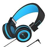 Kopfhörer Kinder - Kabel Kopfhörer für Kinder, verstellbares Stirnband, Stereo Sound, Faltbare, entwirrte Drähte, 3,5 mm Aux Jack, Volume Limited - Kinder Kopfhörer auf Ohr, blau