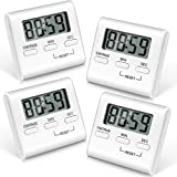 4 Stücke Digital Küche Countdown Timer Küche Timer Kochen Timer mit Laut Alarm Große Ziffern und Zurück Stehen für Kochen, Klassenzimmer, Badezimmer, Lehrer, Kinder