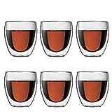 Bodum 4558-10-12 pavina 6-teiliges Gläser-Set (Doppelwandig, isoliert, 0,25 liters) transparent