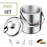 SilverRack Premium Eiswürfelbehälter Edelstahl - isolierter Eiswürfelbehälter mit Deckel und Zange für Früchte und EIS - Eisbehälter für Eiswürfel - ideal für Picknick, Party oder Hochzeit