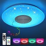 Bluetooth Deckenleuchte 24W Ø 40CM LED Deckenlampe mit Lautsprecher, Fernbedienung und APP-Steuerung, JDONG RGB Farbwechsel, dimmbar, Sternenhimmel Lampe #1320