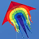 CIM Großer Kinder-Drachen - SUPER-DRACHEN Rainbow Delta XL – Einleiner Flugdrachen für Kinder ab 6 Jahren - 150x166cm - inklusiv 80m Drachenschnur und Streifenschwänze