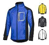 CYCLEHERO Winddichte Fahrradjacke wasserdicht atmungsaktiv reflektierend Softshell Jacke Outdoorjacke (Blau, L)