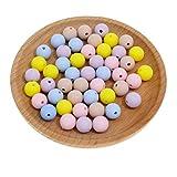 witgift Silikon Perlen, 50 Stück 12 mm Runde Beads Lose Spacer Perlen Bastelperlen für DIY Kinder Schnullern,Halsketten,Beißring,Schmuck Herstellung