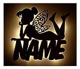Schlummerlicht24 3d Led Deko Lampen Nachtlicht Fee Feen Schutz-Engel Geschenke mit Namen als Geburtsgeschenk-e Beleuchtung Kommunion Taufe Geburt Geburtstag für Kinder Babys Mädchen Mutter Nachttischlampen