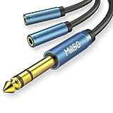 MillSO 6.35mm auf 3.5mm Splitter Kabel 2X 3,5mm Buchse zu 1x 6,35mm 3 Polig Stecker Audio Verteiler Klinke Y Adapter mit Vergoldete Kontakte und Metall Hülse für Lautsprecher und Kopfhörer - 30CM