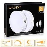 Dimmbar Batteriebetrieben Touch Lampe, led nachtlicht mit wiederaufladbar batterie, magnet aufkleben einsetzbar, Schrankleuchte, Küchenlampe, 2er-Set