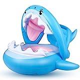 Flyboo Baby Schwimmring Aufblasbarer Hai Schwimmsitz Kinderboot Kinder Schwimmhilfe mit Sonnenschutz für Kinder im Alter von 6 bis 36 Monaten