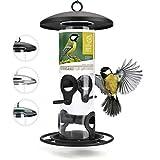 wildtier herz | 26cm Körner Vogelfutterspender schwarz - 5 Jahre Garantie – aus rostfreiem Metall, Vogel Futterstation, Futtersäule, Wildvögel Futtersilo