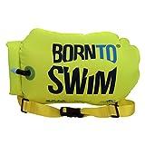 BornToSwim Safer Swimmer Trockentasche und Schwimmboje (Robust) Boje Und Packsack Für Offenen Gewässern Schwimmer Und Triathleten, Fluoreszierend grün, 64 x 30 x 0.05 cm