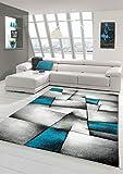 Designer Teppich Moderner Teppich Wohnzimmer Teppich Kurzflor Teppich mit Konturenschnitt Karo Muster Türkis Grau Weiß Schwarz (200 cm Quadrat)
