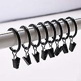 Musuntas 30 STK. 35mm Durchmesser Mehrzweck Vorhang Clip Gardinenstange Gardinenringe Vorhangringe mit Clips-schwarz