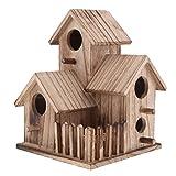 PETSOLA Holz Vogelhaus Für Indoor Outdoor Freistehende Garten Dekor Vogelnistkasten - 2