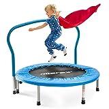Merax Trampolin Kinder Indoor Fitness Klein Faltbar Klappbare Kindertrampolin TÜV-Geprüft Minitrampolin Indoortrampolin mit Haltegriff für Jumping Fitness bis 80kg (Blau)