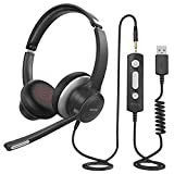 Mpow PC Headset HC6, 3,5mm Klinke Headset Handy,USB Headset mit Noise-Cancelling-Mikrofon, Chat Headset für Skype, Webinar, Homeoffice, Gaming, e-Learning und Musik, Call Control, Ultra Komfort