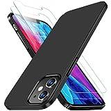 RANVOO 1 Hülle und 2 Panzerglas Kompatibel mit iPhone 12 Mini (5.4Zoll), Ultra Dünn Matt Leicht Slim Anti-Fingerabdruck Case Schale Cover Handyhülle, Schwarz