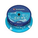 Verbatim CD-R mit 700 MB/ 80 Minuten, 52-fache Brenngeschwindigkeit, Rohling zum Daten sichern und brennen, 25 Stück (Spindel), 43432