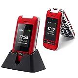Seniorenhandy, Artfone Klapphandy Dual Bildschirm 2,4 Zoll Flip Mobiltelefon Senioren-Handy Großtastenhandy ohne Vertrag mit großen Tasten Notruftaste Taschenlampe Kamera GSM Dual SIM Rentner Handy