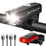 Abenteurer Fahrradlicht LED USB Set, Fahrradlampe Zugelassen Vorne Fahrradbeleuchtung, Aufladbar Fahrradlichter Rücklicht Wiederaufladbare mit 2 Licht-Modi Fahrradlampensets