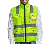 Warnweste Sicherheitsweste mit Reißverschluss XL | Hohe Sichtbarkeit | Große Taschen | Reflektierende Arbeitsweste / Weste