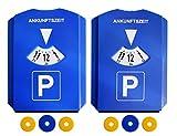 Kaufmann Neuheiten AZINN602 Parkscheibe mit 3 Einkaufswagen-Chips (2 Stück) blau Set of 2