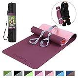 TOMSHOO Gymnastikmatte rutschfest, TPE Yogamatte Trainingsmatte, Phthalatfreie Fitnessmatte für Yoga Pilates Gymnastik & Fitness mit Tragegurt - 183 x 61 x 0,6cm (Dunkelviolett)