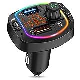 MustWin FM Transmitter Auto Bluetooth mit 3 USB Ladegerät PD/ QC3.0 Radio Adapter mit Ausschaltknopf & Freisprecheinrichtung, Bluetooth Adapter Auto mit Farbig Backlit, Unterstützt TF Karte USB-Stick