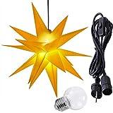 ETiME 3D Leuchtstern Kunststoff Ø 60cm Adventsstern Gelb Weihnachtsstern Außenstern Lampe Fensterstern Deko IP44 3,5 m Kabel Weihnachtsdeko