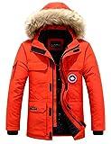 Herren Daunenjacke Winterjacke Fur Hooded Puffer Jacket Fell Pelzmantel Winterparka Pelzkragen Mit Kapuze Winter Warme Mäntel Jacken (Rot,EU Size XS)