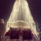 Moskitonetz für Bett, Bett Baldachin mit 100 LED-Lichterketten, Ultra große hängende Königin Baldachin Bett Vorhang Netz für Baby, Kinder, Mädchen oder Erwachsene. 1 Eintrag für Einzel- bis Kingsize