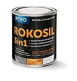 Metallschutzlack ROKOSIL - 0,75 Kg in Schwarz - Seidenmatt - 3in1 Grundierung, Rostschutz & Deckfarbe - Langlebig & Robust - Premium Metalllack für viele Metalle - Metallfarbe, Metall-Lack
