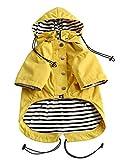 Stylische Premium-Hunde-Regenmäntel – Hundebekleidung Gelb Reißverschluss Hund Regenmantel mit reflektierenden Knöpfen, Taschen, regen/wasserabweisend, verstellbarer Kordelzug, abnehmbare Kapuze M