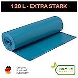 Extra Starke Müllbeutel 120 Liter - Reißfeste Müllsäcke XXL Typ 100-25 STÜCK je Rolle - Stabile Mülltüten blau für Haushalt, Baustelle und Gastronomie als Abfallsack (Blau, 1 Rolle)