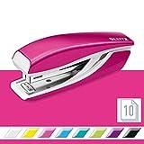Leitz 55281023 Mini-Heftgerät, 10 Blatt, Metall, Inkl. Heftklammern, WOW) metallic pink