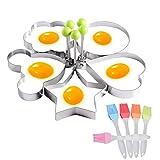 DBAILY Spiegeleiform Edelstahl, Egg Ring Wiederverwendbar Bratring Eier 5pcs Unregelmäßige Form Omelettpfannen + 5pcs Dauerhaft Silikon Backpinsel für/Pfannkuchen/Omeletts und Mehr