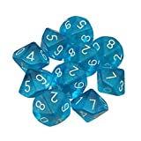 Febbya Polyedrische Würfel D10,10 Stück Spielwürfel Set Doppelfarben Polyedrischen Würfelspiele von D10 für DND MTG RPG Dungeons und Drachen Acryl Blau