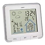 TFA Dostmann Wetterstation Funk Life, digitale Funkwetterstation, Luftfeuchtigkeit, Temperatur, mit Hintergrundbeleuchtung, Wettersymbole, weiß